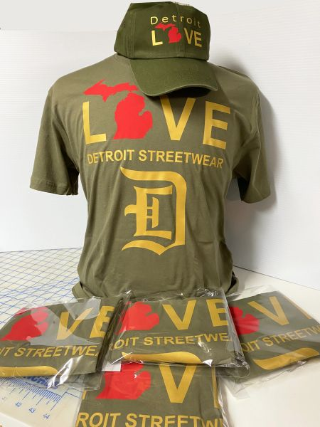 Love - Detroit Streetwear MI - Green (t-shirt only)