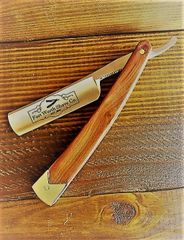 Straight Razor - Wood Handle with Stainless End Cap