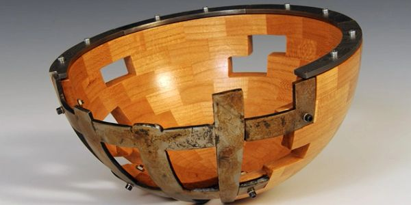 Sculptural wood, Damascus steel