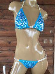 Turquoise and Silver Sequin Bikini