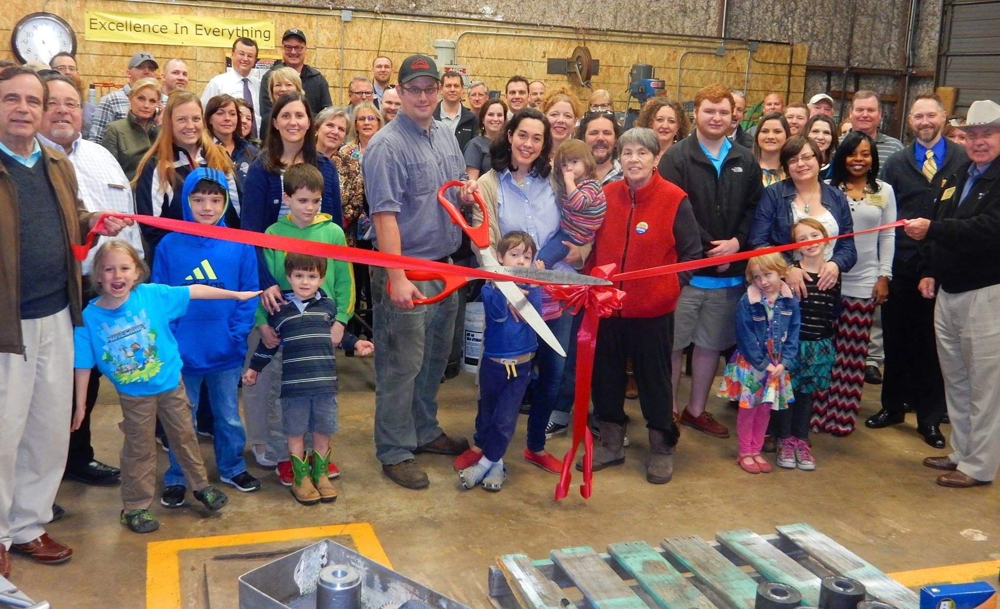 Turner Fabrication ribbon cutting in our main machine shop building in Nacogdoches, TX