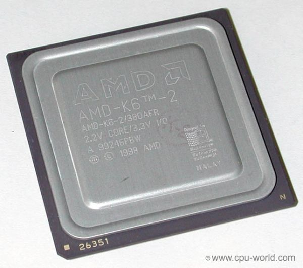 AMD K6-2/380AFR CPU 380 MHz Super Socket 7