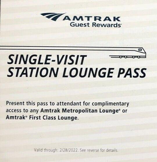 Amtrak Station Lounge Pass First Class Metropolitan Expires 2/28/2022
