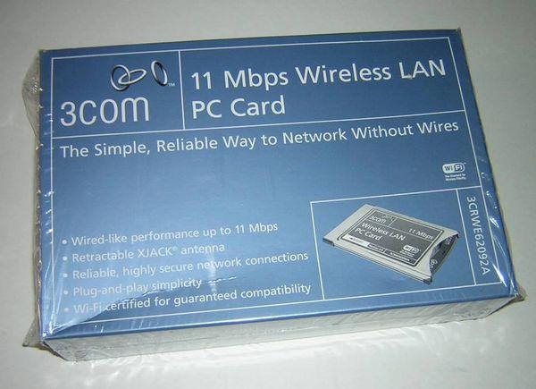 3Com PCMCIA Wireless LAN PC Card with XJACK Antenna 3CRWE62092A NEW in Box