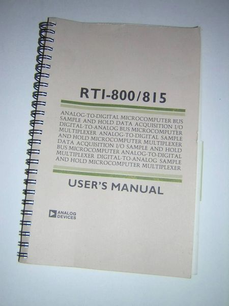 Analog Devices RTI-800/815 Data Acquisition Board Original Printed User's Manual