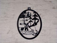 Fly Fisherman with Trees Welcome Door Hanger