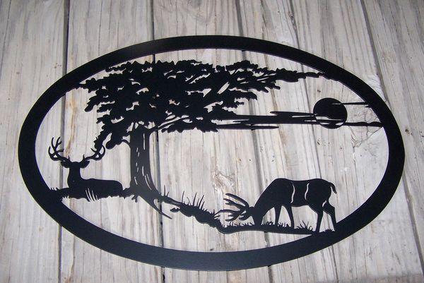 """Two Deer 32"""" Wall Art"""