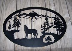 "Wolf 32"" Oval Wall Art"