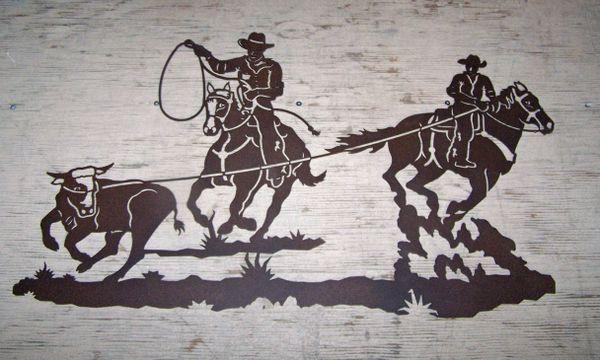 """Steer Ropers 42"""" Wall Art"""