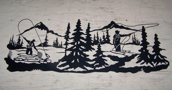Double Fly Fisherman 38'' Wall Art