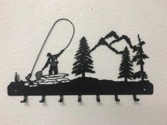 Fly Fisherman With Trees 7 Key Hook