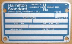 Hamilton Standard Data Plate DPL-0113