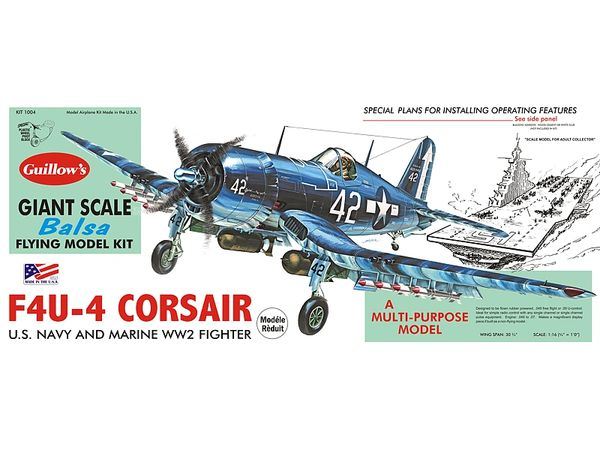 Guillow's Vought F4U Corsair Balsa Wood Model Airplane Kit GUI-1004