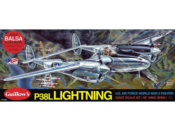 Guillow's Lockheed P-38 Lightning Balsa Wood Model Airplane Kit GUI-2001