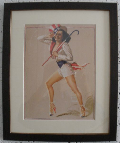 Framed WWII Pin-Up Girl, Miss Liberty ART-0122