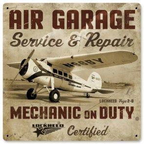 """Lockheed Vega """"Air Garage"""" Metal Sign SIG-0154"""