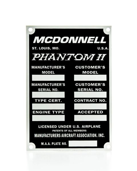McDonnell F4 Phantom II Data Plate DPL-0106
