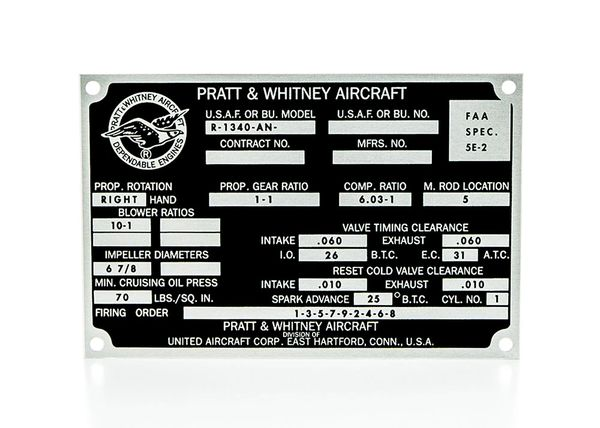 Pratt & Whitney R-1340-AN Wasp Radial Engine Data Plate DPL-0110