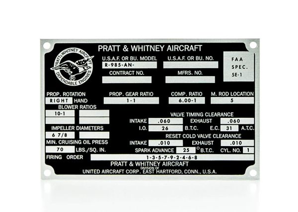 Pratt & Whitney R-985-AN Wasp Junior Radial Engine Data Plate DPL-0111
