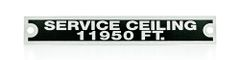 Piper J-3 Cub & L-4 Service Ceiling Placard PLA-0101