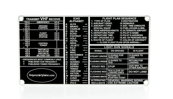 Pilot's Communications Guide Placard PLA-0102