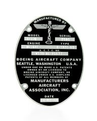 Boeing B-17 Flying Fortress Data Plate on Aluminum Stock DPL-0101