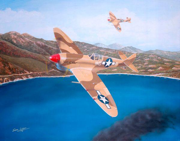 Sam Lyons Print, Hoover's Flying Spitfire LS-1047
