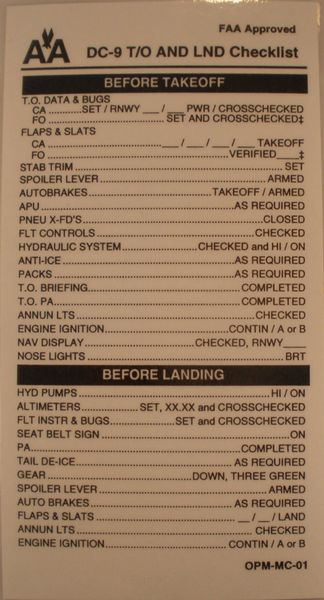 American Airlines Douglas DC-9 Checklist CKL-0105
