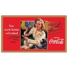 WWII Defense Worker Coca Cola Embossed Metal Sign AR-2180201