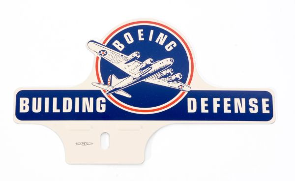 "License Plate Topper, ""Boeing...Building Defense"" OFF-0110"