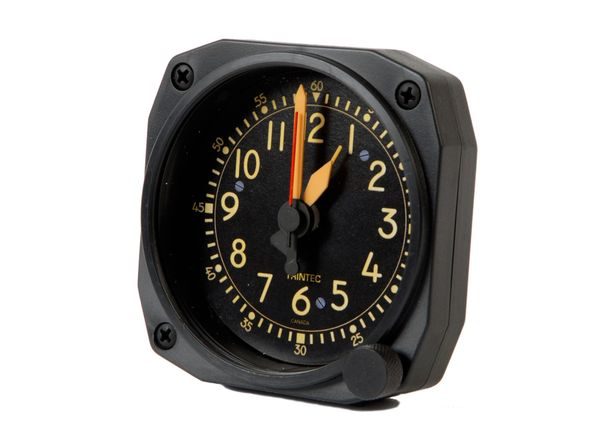 Cockpit-Style Alarm Desk Clock W/Non-Functioning Winding Knob TRI-0104VK