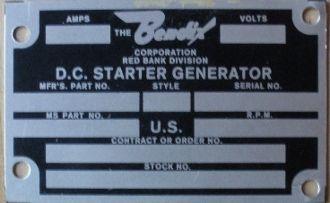 Bendix D.C. Aircraft Starter Generator Data Plate DPL-0109