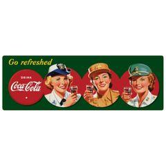 Coca-Cola WW II Service Women Embossed Metal Sign AR-2180211