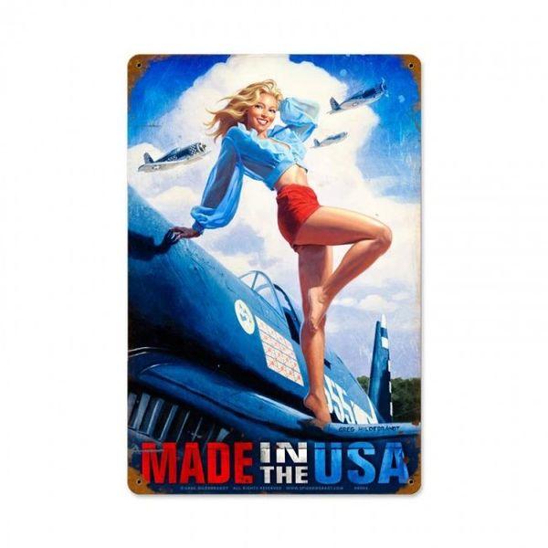 """Made in the USA"" Hildebrandt Pinup Girl Metal Sign SIG-0183"