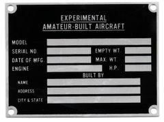 Data Plate- Experimental, Amateur-Built DPL-0116