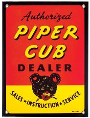 """Authorized Piper Dealer"" Porcelain Metal Sign SIG-0196"