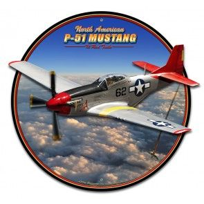 3 Dimensional Tuskegee Airmen P-51 Red Tail Mustang Metal Sign SIG-0301
