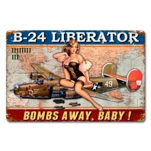 Consolidated B-24 Liberator Pinup Girl Metal Sign SIG-0302Y