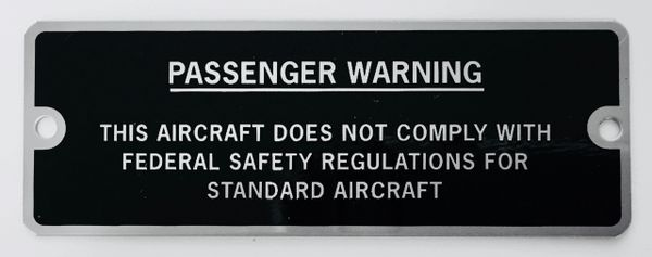 Amateur-Built Passenger Warning Experimental Aircraft Placard PLA-0110