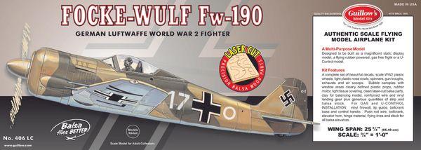 Guillow's-Focke-Wulf Fw 190 Balsa Wood Flying Model Kit GUI-406