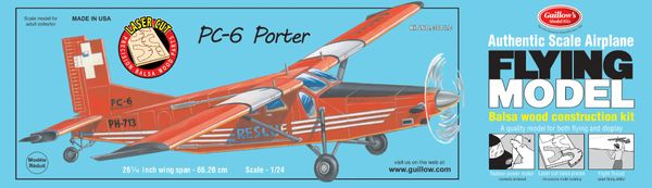 PC-6 Porter Balsa Wood Model Airplane Kit by Guillow's GUI-304LC