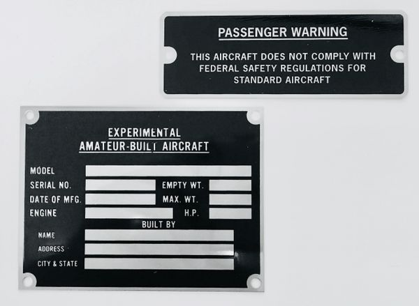 Amateur Built Placard & Data Plate Grouping GRP-0113