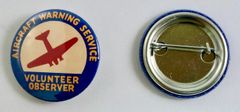 """Aircraft Warning Service"" Pin Back Button (One dozen) BTN-0103"
