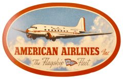 Original 1930s/1940s American Airlines DC-3 Flagship Luggage Decal DEC-0118