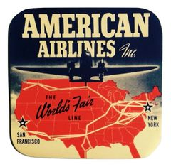 American Airlines/1939 NY World's Fair Luggage Decal DEC-0138