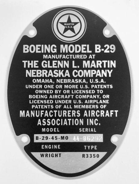 Repro Glenn Martin Built B-29 Data Plate Stamped for the Enola Gay DPL-0114