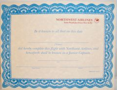 "Northwest Airlines, ""Jr. Captain"" Certificate EPH-0103"