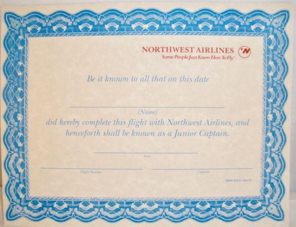 "Northwest Airlines, ""Jr. Captain"" Certificate EPH-0103"