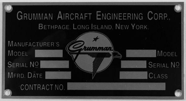 Reproduction Grumman Aircraft Data Plate, 1943-1978 DPL-0115