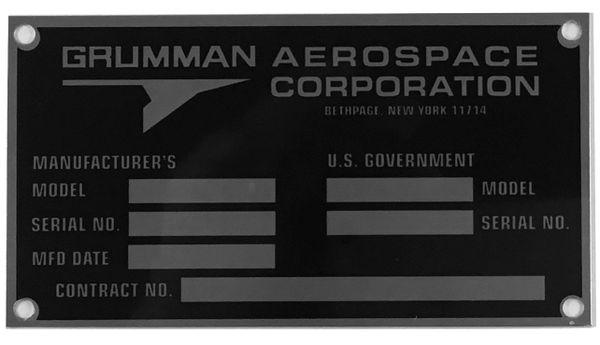 Reproduction Grumman Data Plate, 1979-1994 DPL-0118